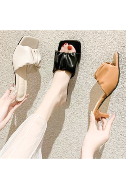 Leather heel sandal(mama)【限定価格】