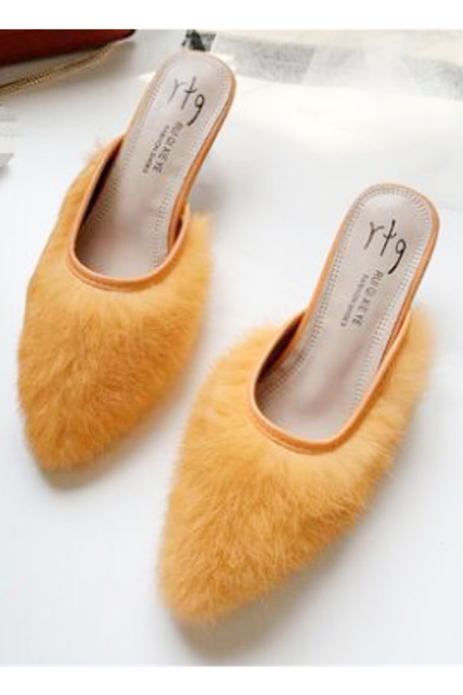 Fur heel shoes(mama)