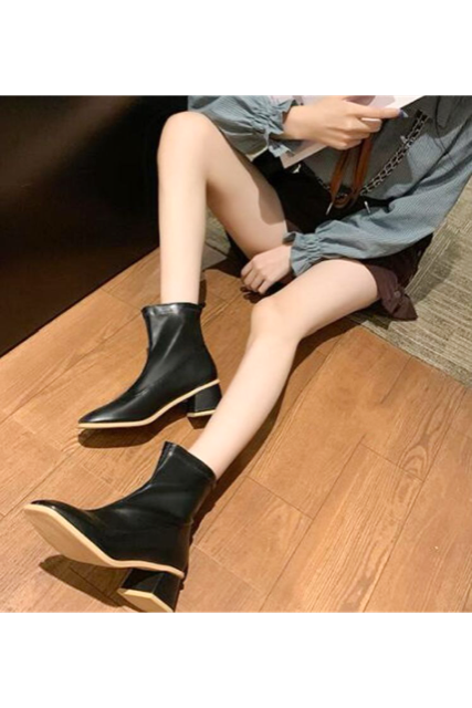 Bi-color short boots(mama)